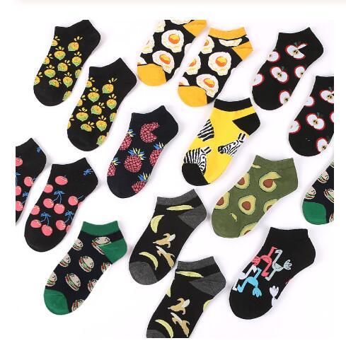 Chaussettes pour femmes printemps été coton chaussettes courtes de Fruit D'avocat Flamingo Nourriture imprimer harajuku drôle mignon chaussette femmes meias 2019