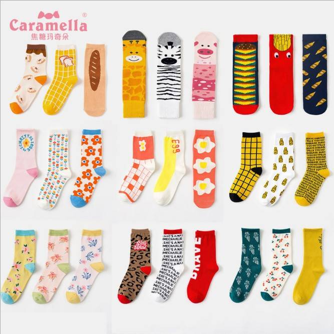 Chaussettes fantaisie fabricants femmes heureux chaussettes personnalisées