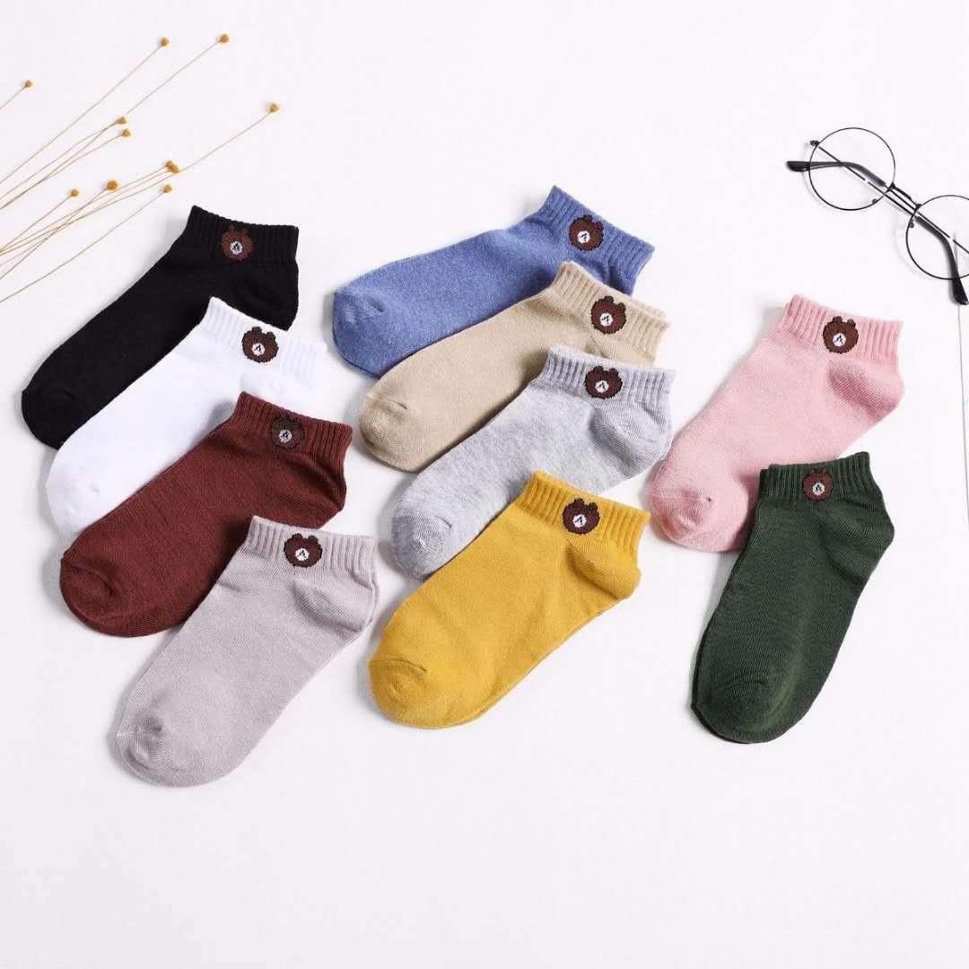Bear-chaussettes de livraison fines femmes   Chaussettes de dessin animé, 10 paires par sachet mixte 10 couleurs, offre spéciale