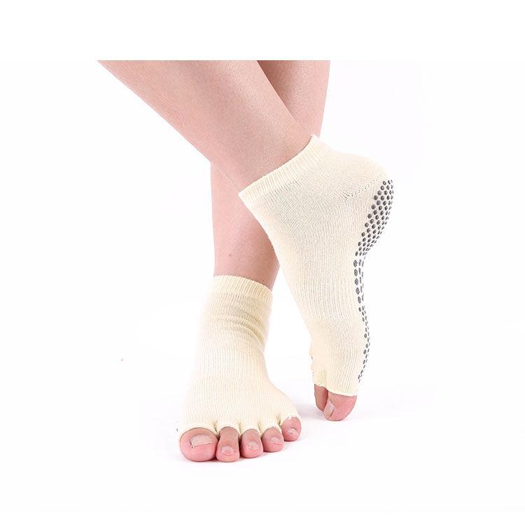 Stock en gros pas cher coton homme sans glissement fille eco blanc chaussettes de yoga