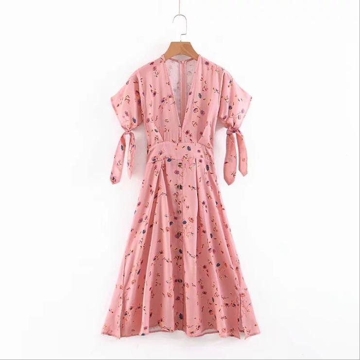 Robe imprimée à manches pour femme   Une pièce, courte, trapèze, élégante, décontractée, été, livraison directe