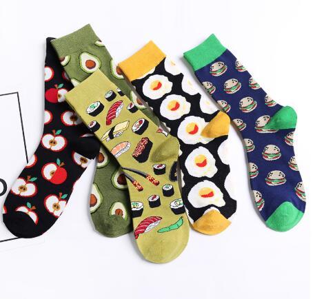 Chaussettes pour femmes   Drôles mignon dessin animé Fruits pomme avocat Sushi œuf Cookie Burger nourriture joyeux japonais Harajuku chaussettes de skateboard