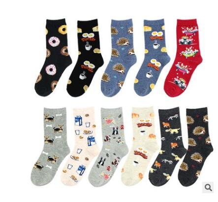 Chaussettes joyeux lait de Donut   Chaussettes colorées en coton, chaussettes de femmes drôles, chaussettes de dessin animé imprimées, pour filles et dames
