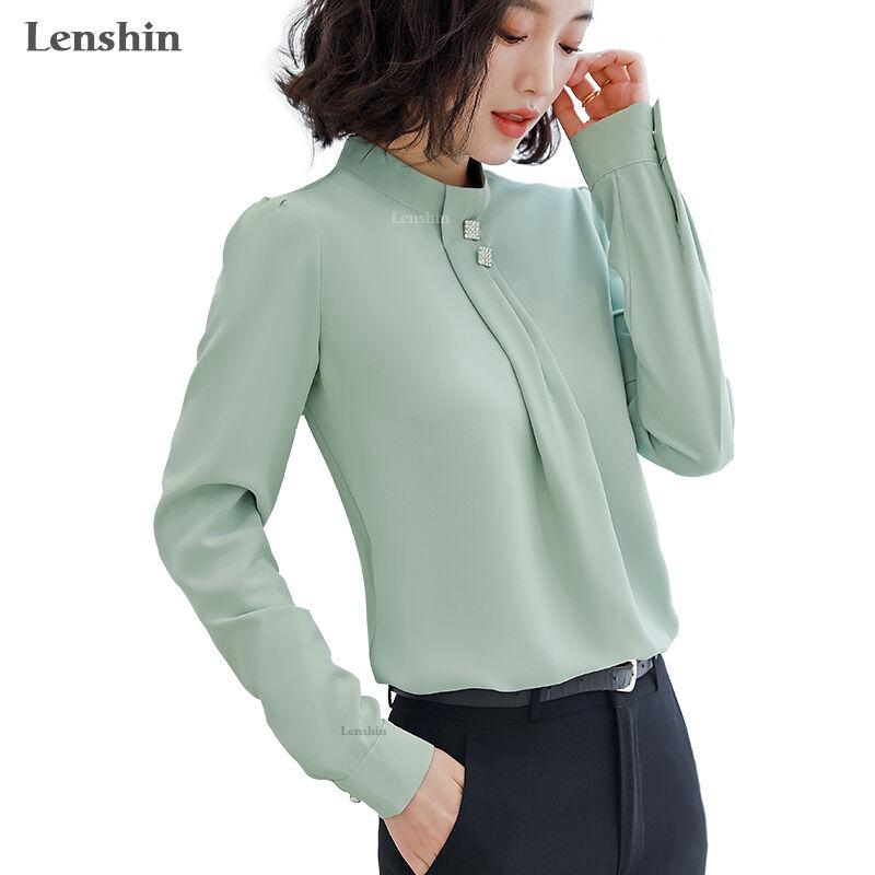 Haut vert à manches longues pour femme   Chemise en livraison directe, doux et confortable, chemisier de haute qualité avec des diamants, tenue de travail