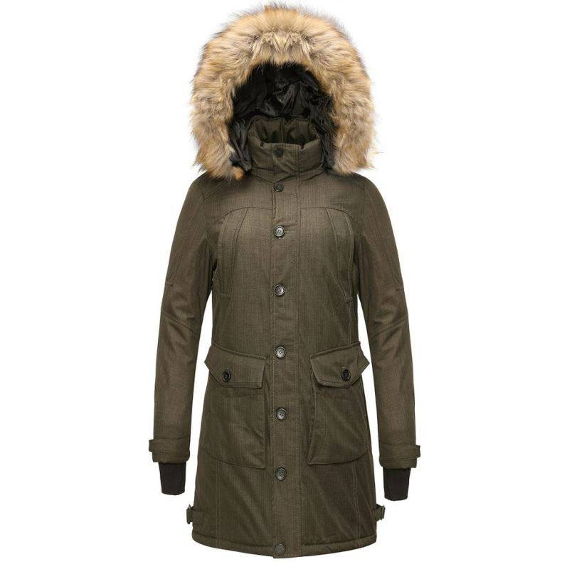 Livraison Gratuite En Plein Air Randonnée Noir Imperméable Parka Longue Veste D'hiver Manteaux avec Capuche De Fourrure pour Les Femmes