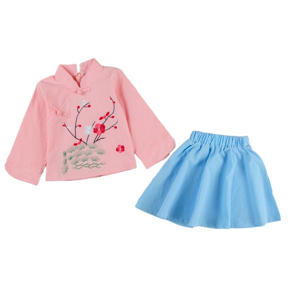 Enfants costume de coton et lin jupe bébé cheongsam hanfu costume robe traditionnelle Chinoise pour les filles