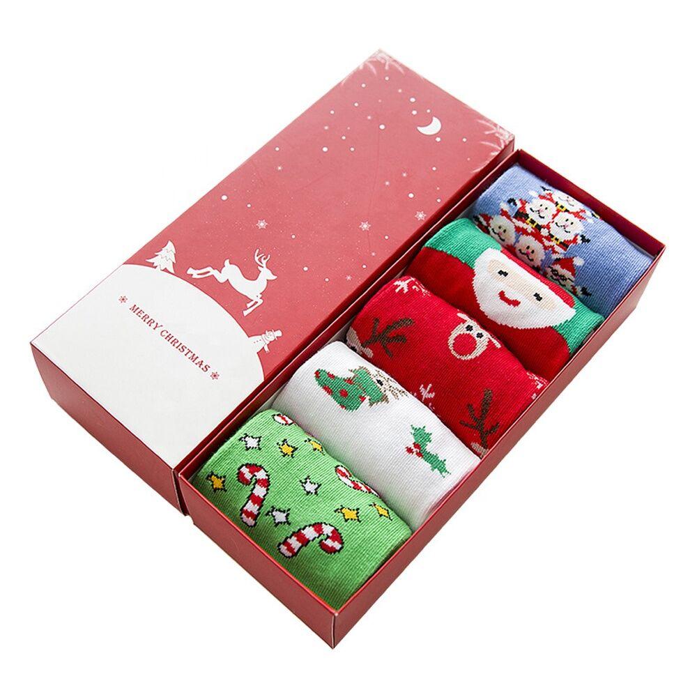 Boîte de cadeau de noël 5 paires de noël hiver douillet chaussettes femmes mignonnes chaussettes avec boîte