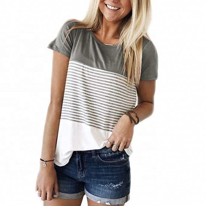 Amazon Top Vente Pas Cher Prix Coton Mode Dames T-Shirt En Coton T-Shirt en Blocs De Couleurs Femmes