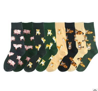 Kawai-chaussettes en coton peigné femme   Joli dessin animé Kawai, chaussettes femmes drôle tigre Corgi cochon joli motif Animal, chaussettes décontractées, 2019