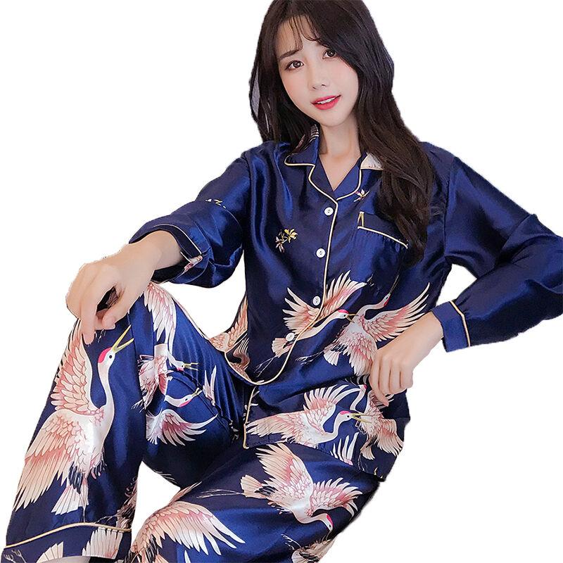 En gros Pas Cher femme manches longues imprimé en soie pyjamas ensemble grande taille