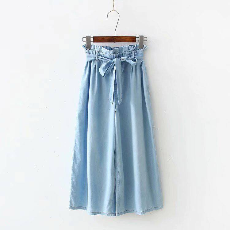Nouveau style fantaisie écologique coton pantalon à jambes larges femmes avec ceinture L0005_1