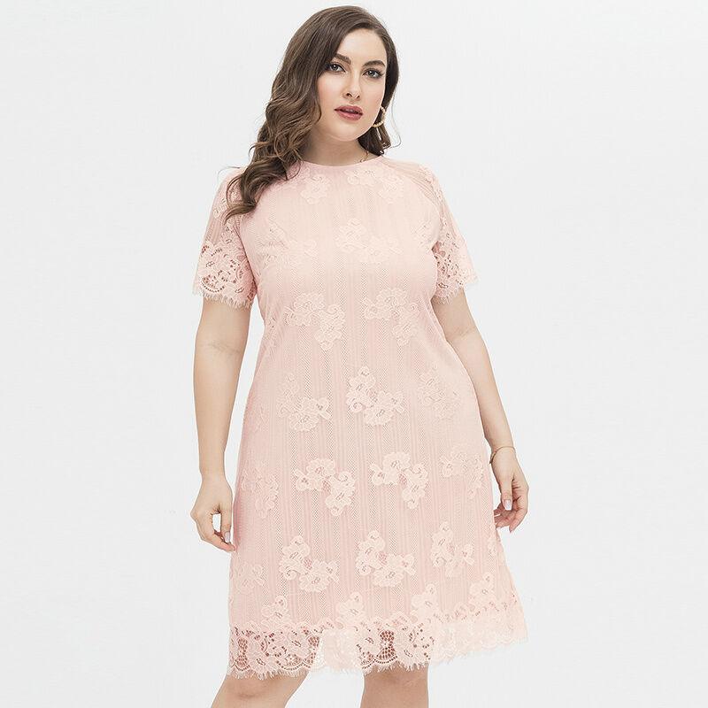 En gros Pas Cher Dame Vêtements Grande Taille Raglan Manches Courtes Longueur Genou UNE ligne Rose Dentelle Robe Décontractée pour Les Femmes