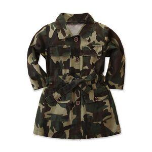 Enfants Bébé Filles Camouflage Manteaux Automne Mode Manche Longue Revers Trench Camouflage Vestes Fille Long Manteau - Publicité