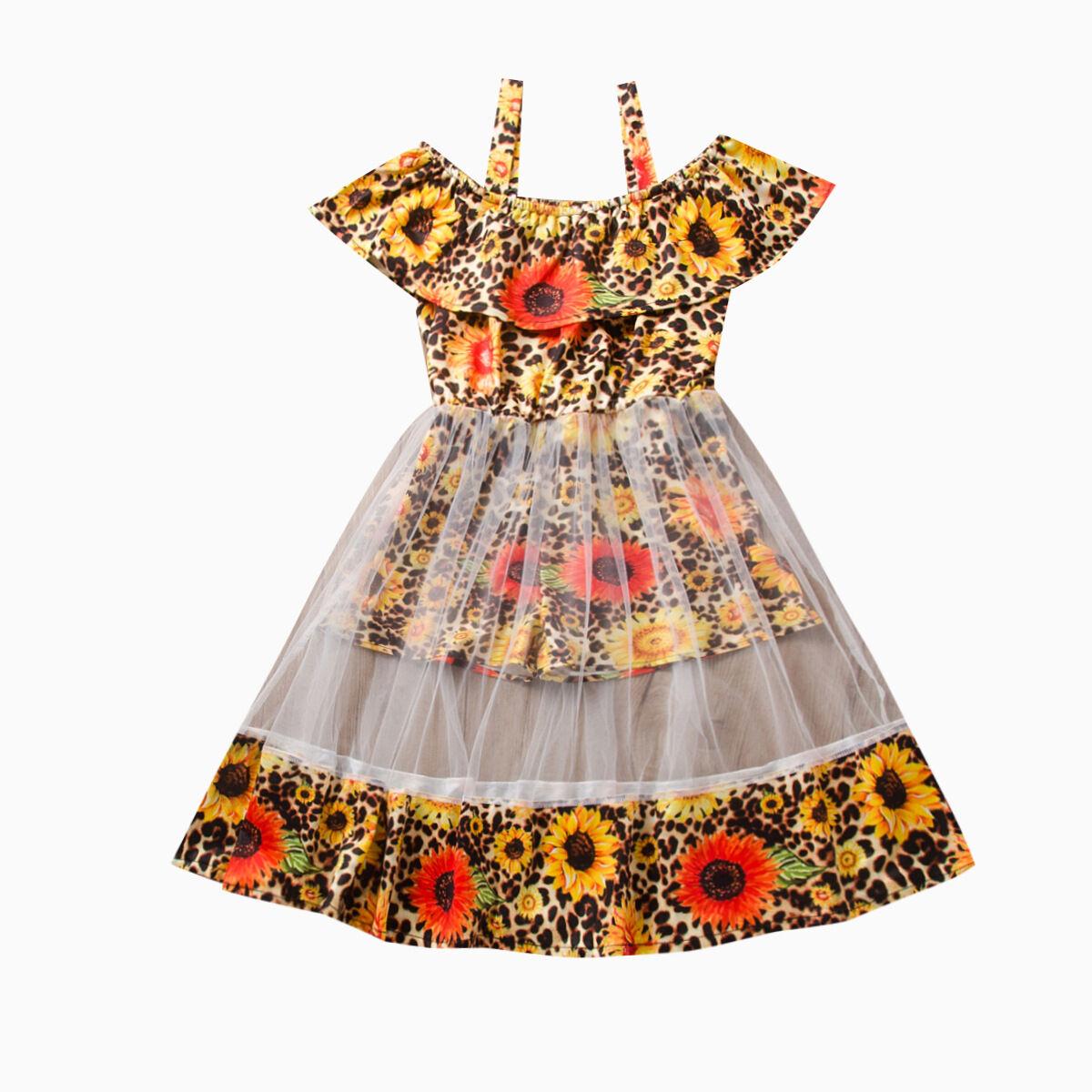 Mode Bébé fille robe coton régulier Bébé Anniversaire Tutu Vêtements Fête Combinaison filles tournesol plage Barboteuse Robe