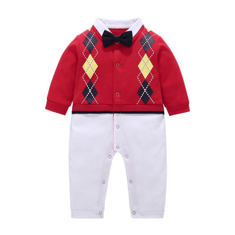 Nouvelle arrivée nouveau-né rouge à manches longues barboteuses coton bébé garçon vêtements d'hiver