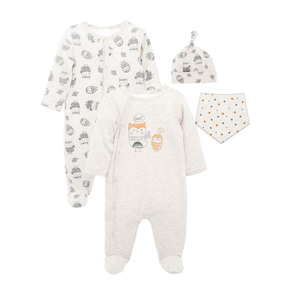 Barboteuse bébé coton à manches longues pyjama garçons vêtements 4 pièces bavoir casquettes salopette ensemble en gros