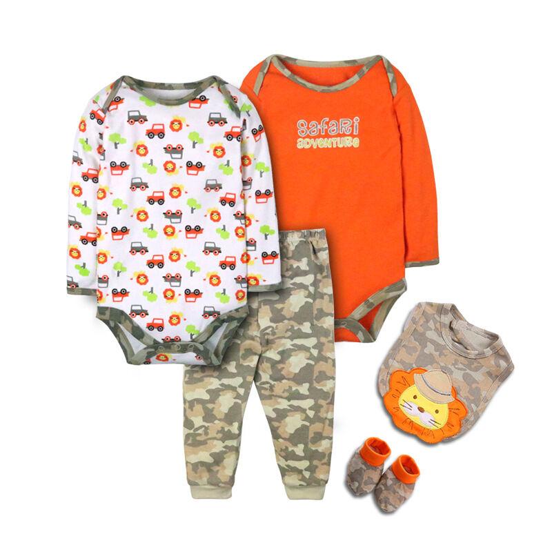 Nouvelle mode 100% coton brodé bébé vêtements à manches longues bébé garçon ensemble de vêtements
