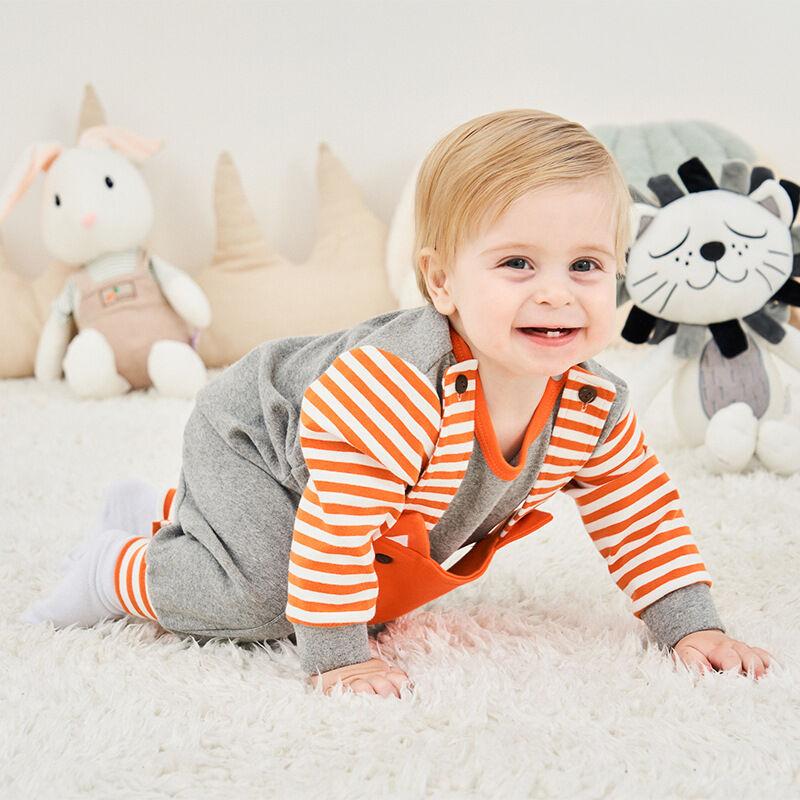 Livraison Gratuite Offre Spéciale Bébé Fille Barboteuse Set Bébé Vêtements Barboteuse À Rayures Avec L'animal Manches Longues pour renard