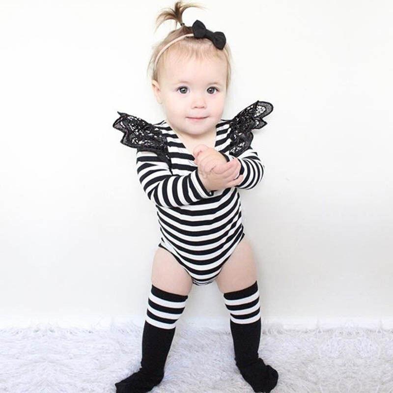Barboteuse à rayures pour bébés   Livraison gratuite, vente en gros, vêtements en coton biologique, combinaisons pour bébés à col rond
