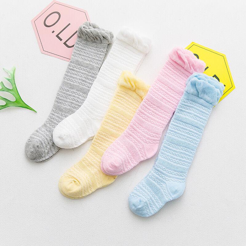 Été mince chaussettes pour enfants pur coton bébé coton genou haute tube 0-3 ans