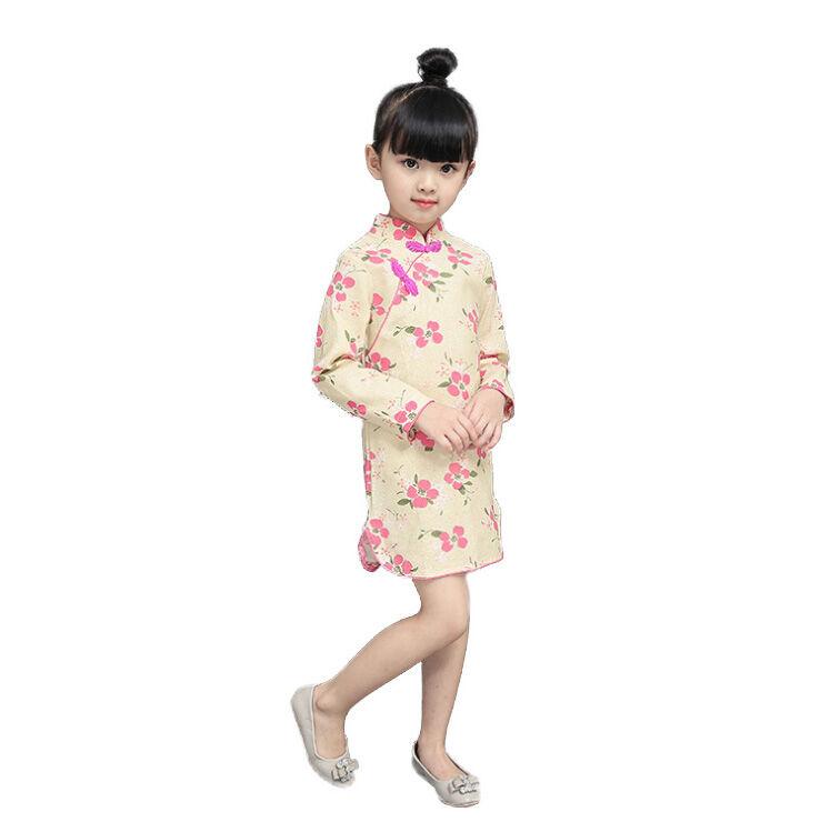Cheongsam qipao à manches longues   En coton et lin, pour bébé, robe traditionnelle chinoise pour filles, de style ethnique et de performance