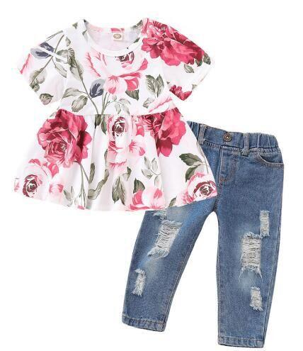 Ins Ebay-ensemble robe + jean imprimé Floral   Ensemble vêtements de printemps, en coton, pour bébé