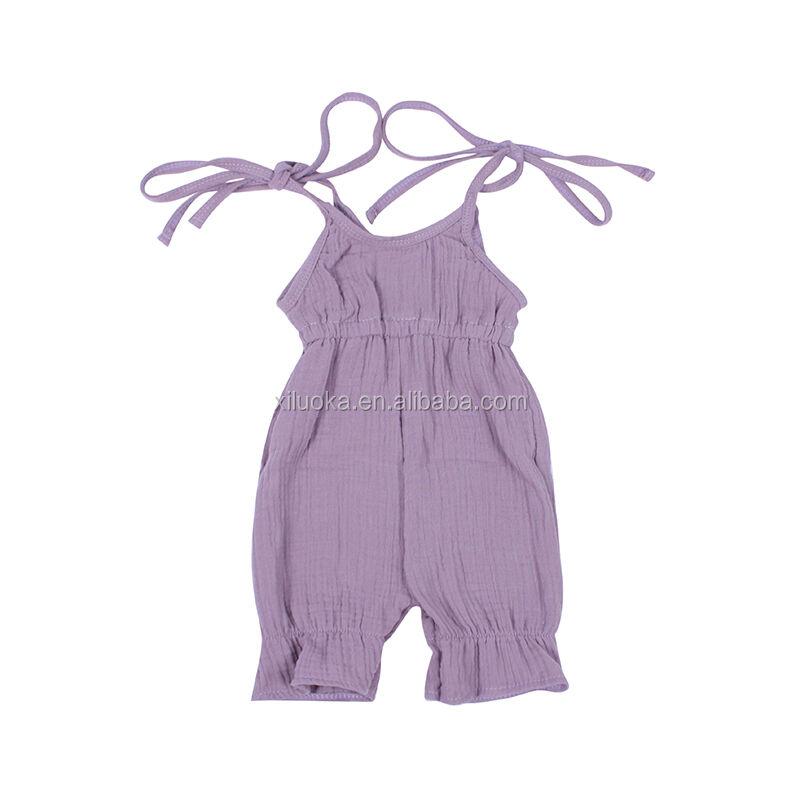 Sling Solide Bébé Fille Vêtements D'été Nouveau-Né Coton Bébé Vêtements Barboteuse