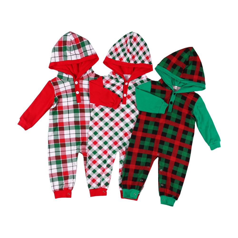 Noël hiver combinaison bébé en coton couleur rouge bébé garçons barboteuse filles à manches longues à capuche vêtements bébé barboteuses