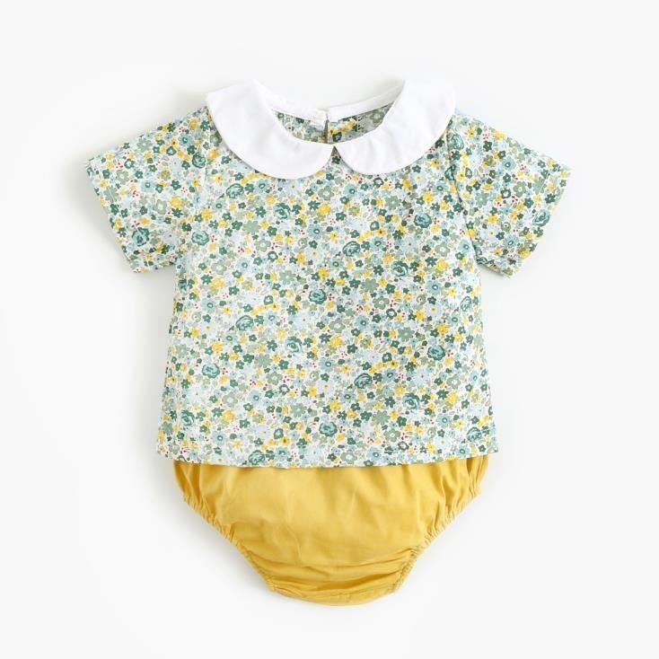Vêtements de bébé en coton   Tissu doux, deux pièces, coréen INS en coton, haut col Pan, imprimé de flore, barboteuse en lin, 2020
