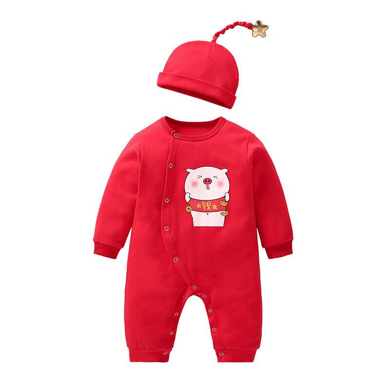 Gros bébé coton nouveau-né ensembles rouge à manches longues bébé automne vêtements avec chapeau