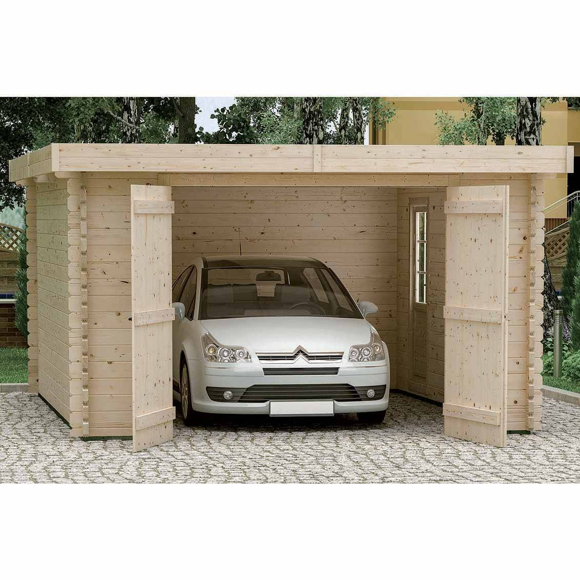 Forest-Style Garage bois PLUM 21,8m², madriers 44mm