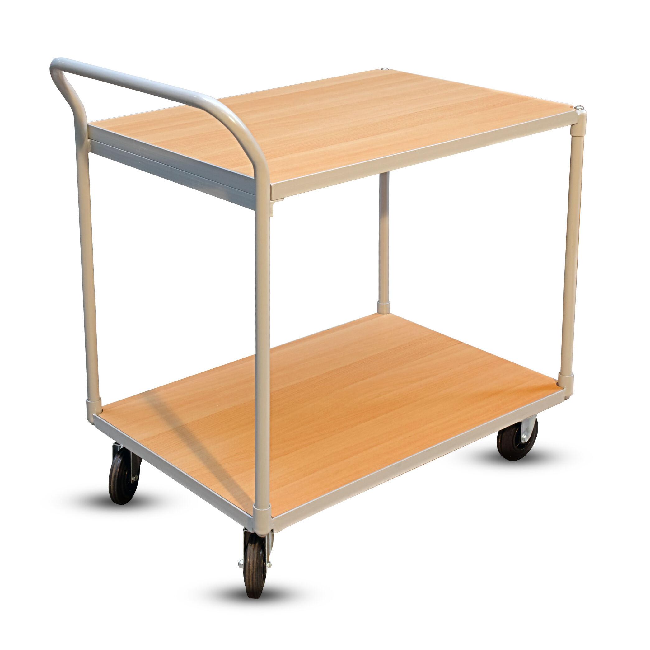 Axess Industries Chariot à 2 plateaux bois version économique   Type de roues 2 fixes, 2 piv