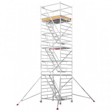 Axess Industries Echafaudage roulant avec escalier intérieur   Haut. travail 4,25 m   Réf. 10....