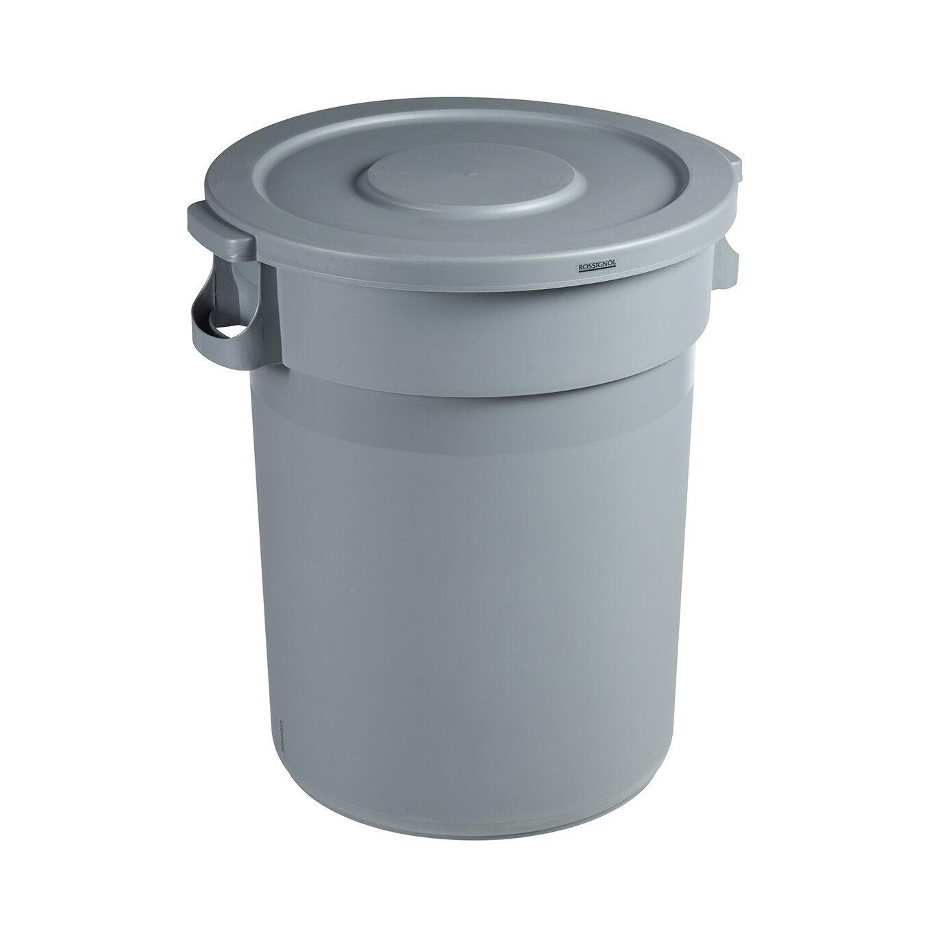 Axess Industries Conteneur poubelle rond avec couvercle   Volume 80 L   Couvercle Plat