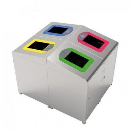 Axess Industries Poubelle de tri sélectif en Inox   Volume 60 L   Coloris Jaune
