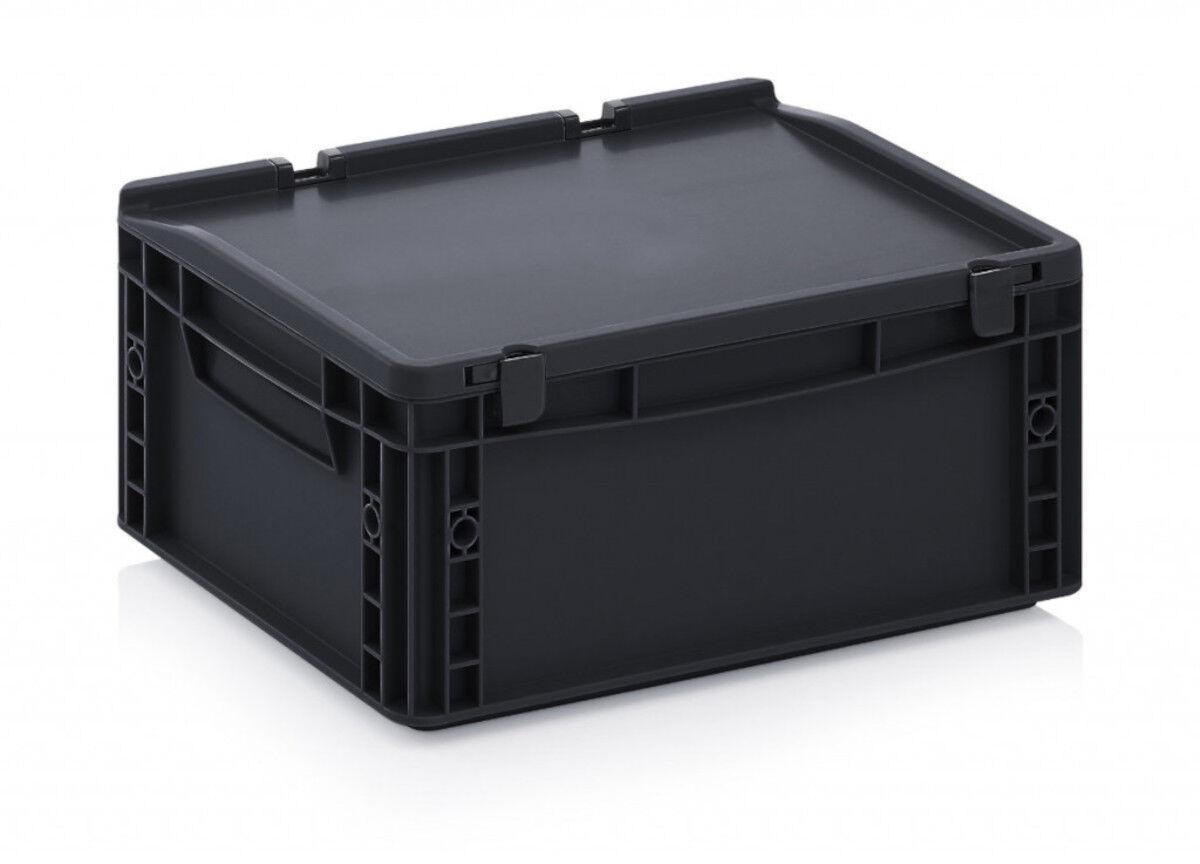 Axess Industries Bacs Euro ESD 800 x 600 mm avec couvercle   Haut. ext. 140 mm