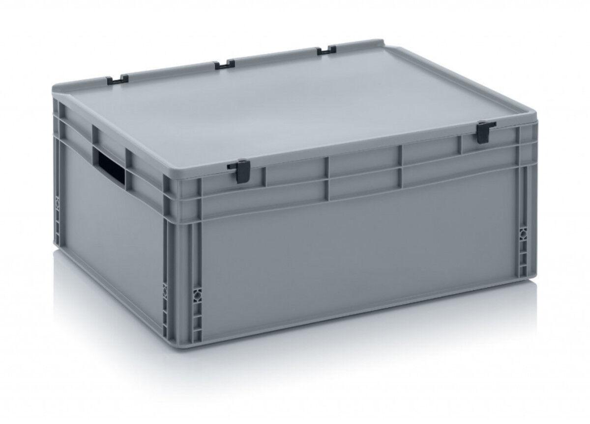 Axess Industries Bac Euronorm 800 x 600 mm avec couvercle à charnières   Poignées Fermées   Ha...
