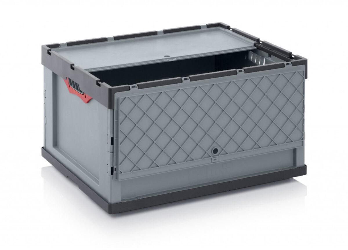 Axess Industries Bac Euronorm 800 x 600 mm pliable avec couvercle