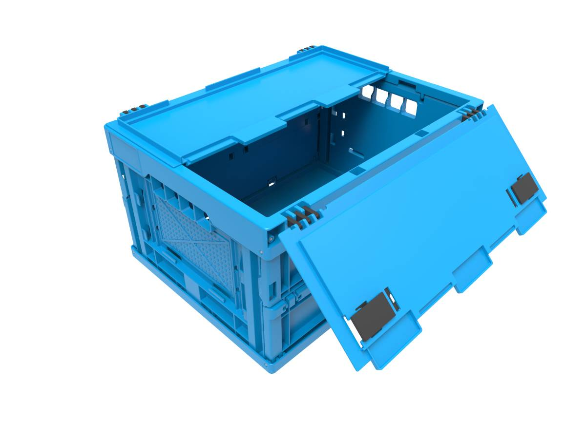 Axess Industries Bac Euronorm 400 x 300 mm pliable avec couvercle   Haut. ext. 220 mm
