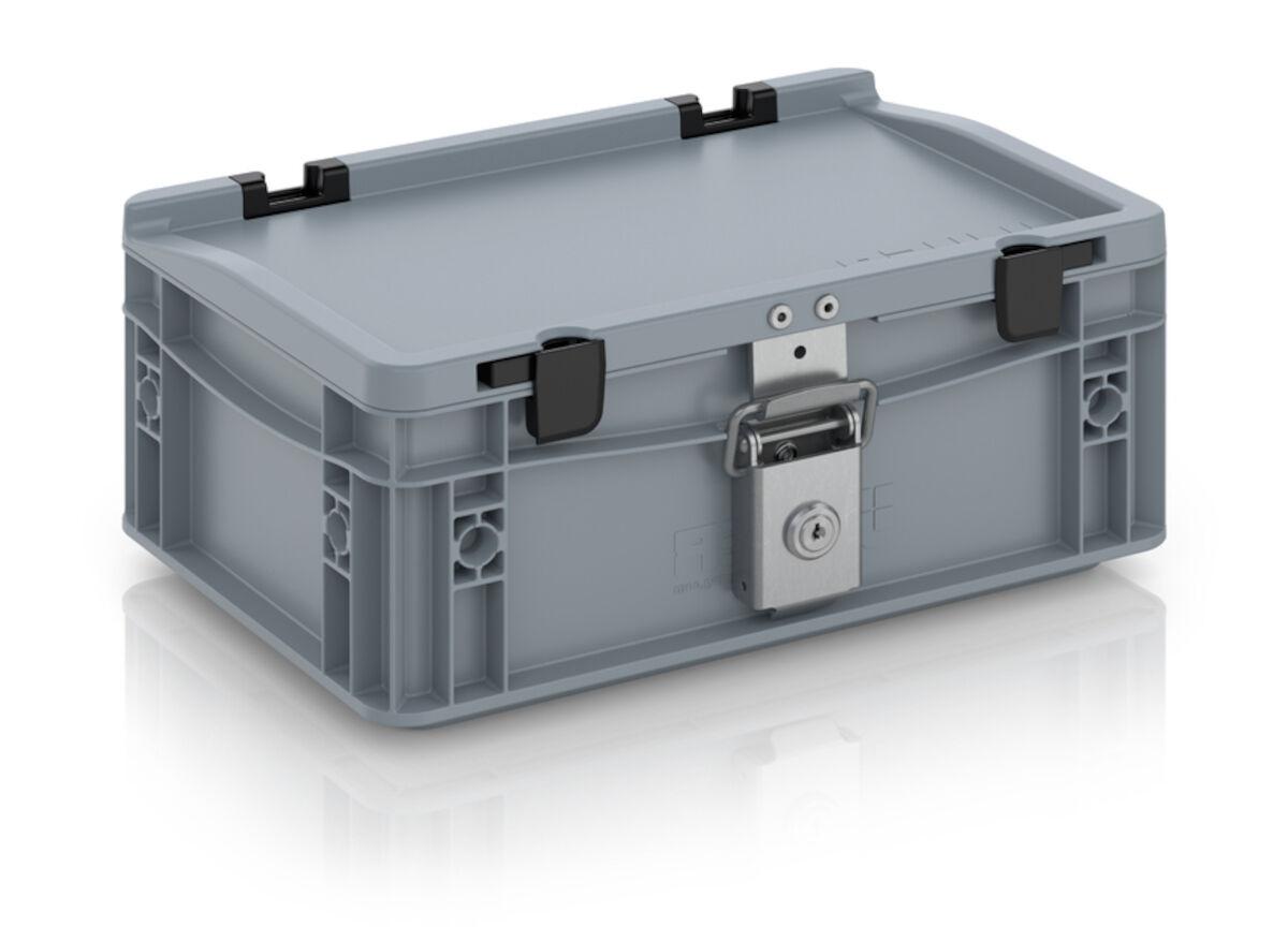 Axess Industries Bac Euronorm avec couvercle et serrures   Dim. ext. Lxl 300 x 200 mm   Haut. ...