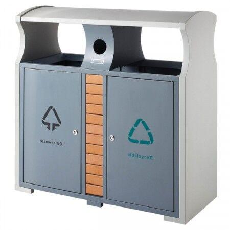 Axess Industries Poubelle de tri sélectif d'extérieur design avec bac à piles