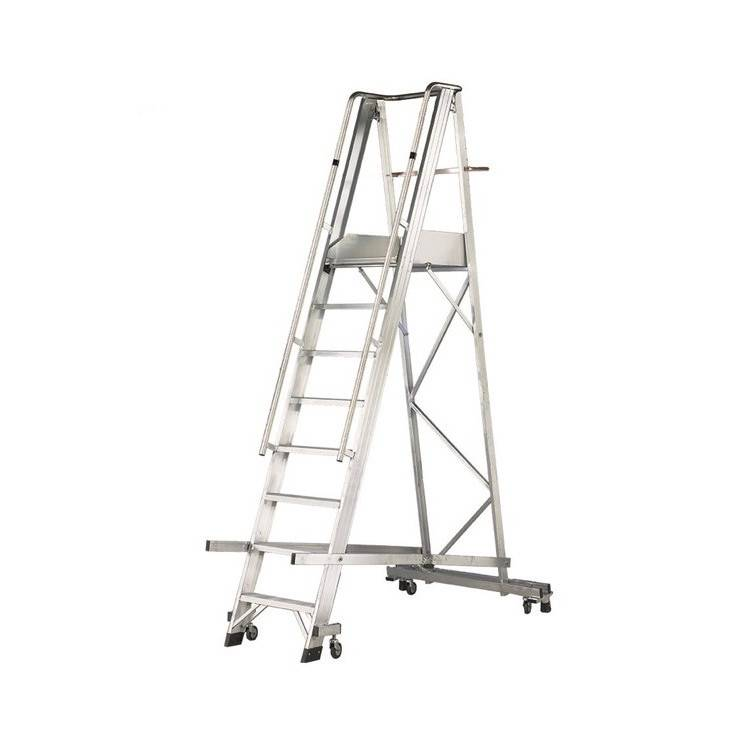 Axess Industries Escabeau mobile repliable professionnel sur 4 roulettes   Haut. plate-forme 1...