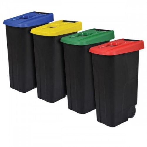 Axess Industries Poubelle de tri sélectif mobile   Volume 65 L   Coloris Noir