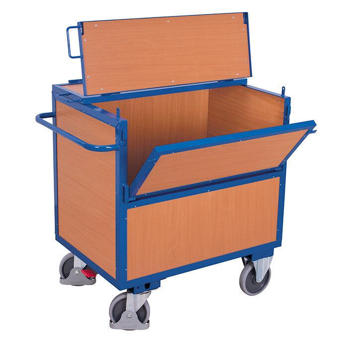 Axess Industries Chariot container bois avec couvercle   Dim. ext. Lxlxh 1130 x 725 x 1110 mm