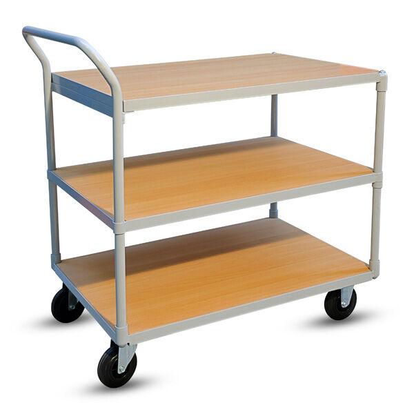 Axess Industries Chariot à 3 plateaux bois version économique   Type de roues 2 fixes, 2 piv