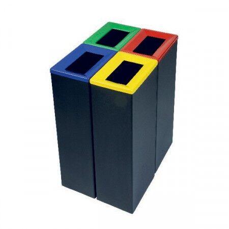 Axess Industries Poubelle de tri sélectif en acier   Coloris Bleu