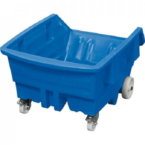 Axess Industries Chariot basculant sur roues en polyéthylène   Volume 300 L   Coloris Bleu