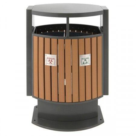 Axess Industries Poubelle de tri sélectif d'extérieur imitation bois