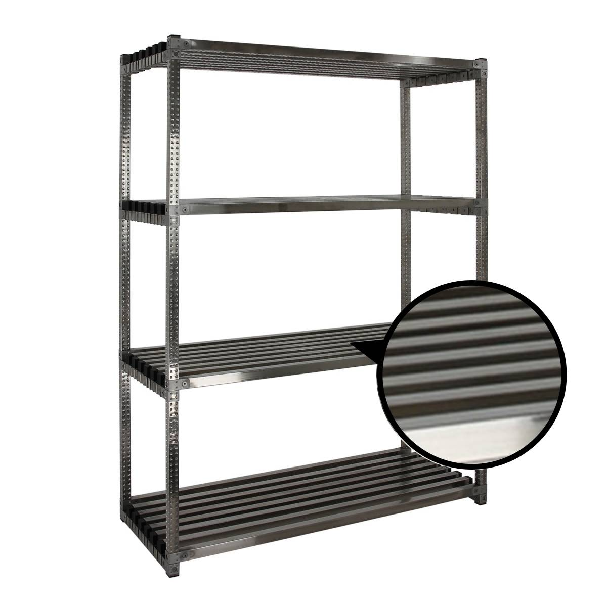 Axess Industries Rayonnage alimentaire inox à tablettes tubulaires   Long. utile 1497 mm   Pro...