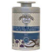 Provence d'Antan Fleur de Sel de Camargue Ail et Fines herbes bio Boîte métal 70 g - Provence d'Antan